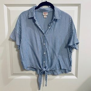 Striped Button Up Blouse with Tie Front